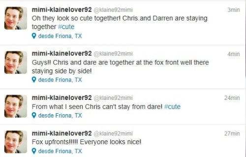 cjoycoolio:  klainemyotp:  darrenchristruelove:  Is this true? Oh GOD!  holy shit its happening  Pics or it didn't happen!