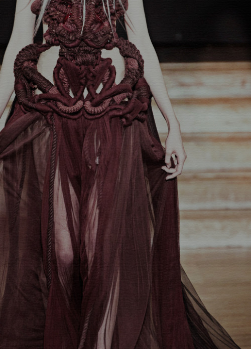 tessellation29:  ialu:  yiqing yin haute couture s/s '13 (detail)  #i'm in love i want to live in a world made from this dress #brutal deathly intricate ropes and lush sheer reds that all looks like it's going to eat you alive #dresses to wear when breaking a kingdom in half #fashion is a performance I could lick these tags up