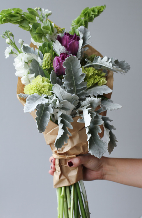grayskymorning:  DIY bouquet with tulips + dusty miller