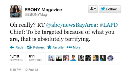 Tweet of the Week: Ebony Mag to LAPD