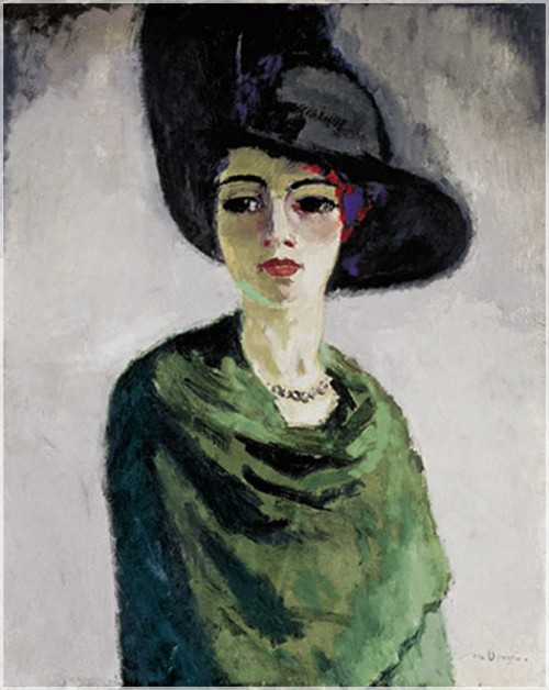 "Kees Van Dongen (1877-1968) was a Dutch painter and member of a group of painters using bright colours. They were called ""les fauves"" (the wild ones) for that reason. I can't help copying this quote of his: ""The essential thing is to elongate the women and especially to make them slim. After that it just remains to enlarge their jewels. They are ravished."" Kees Van Dongen, Lady in a black Hat, 1908. St.Petersburg, Russia, Hermitage."