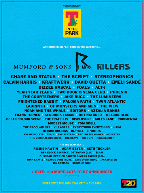 The latest T in the Park announcement. Foals are going and that's all that matters. 5 month countdown.