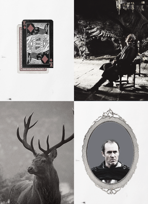 "songsofwolves:  ASOIAF card series: King of Diamonds - Stannis Baratheon  Positively, the King of Diamonds is endowed with wisdom and power. He may appear cold or hard — but in truth, he is just, fair and inclined to philanthropy. As a Kings Card he is  born into power and must naturally equip himself as a ruler. And if that power means money, then it must mean money in such abundance that no one can outstrip them or outdo them. On the other hand, for those Kings of Diamonds who are the ""initiates"" - that is, working on the higher plane of values - the hard-boiled materialism of the typical King of Diamond is unknown to them. ♦"
