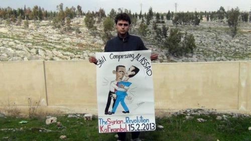 The people of Kafranbel, Idleb (Syria) want to show the world Obama's love for Assad.