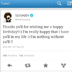 @youngbeezzy #tweet #thankyou #birthday #taeyang #may #singer