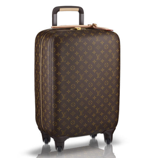 Zippy Zephyr: The Louis Vuitton Zephyr 55 features a classic Monogram print with a modern new chassis that includes four multi-directional wheels, interior zipped shell, and a four-level retractable cane for luxurious form and function. $3,450.