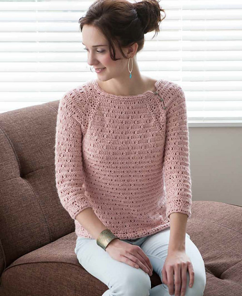 Rose Quartz Pullover (pattern by Robyn Chachula) What a shame that you can only get this pattern through the Blueprint Crochet Sweaters book. I wish Interweave would sell these patterns individually. I do not care for the other sweaters in the book, but this pullover is a gem!