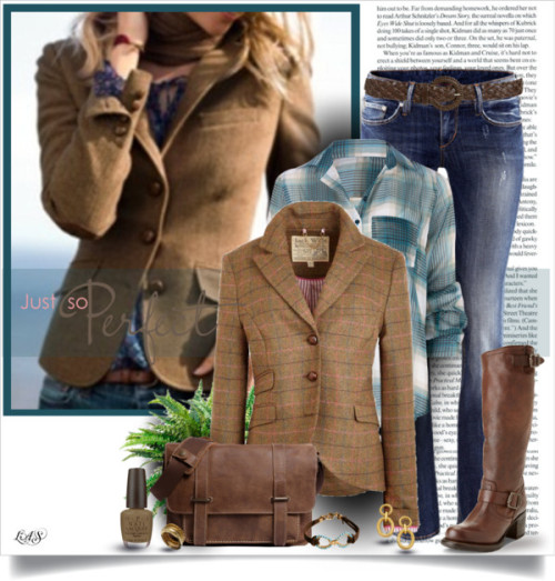 Untitled #1871 by snippins featuring a wool blazer ❤ liked on PolyvoreFull Tilt  / Jack Wills wool blazer / H&M low jeans, $45 / Frye  / Roots ipad shoulder bag / Stacking bangle / Ben-Amun ben amun / Made  jewelry / Wet Seal woven belt / OPI  nail lacquer, $17