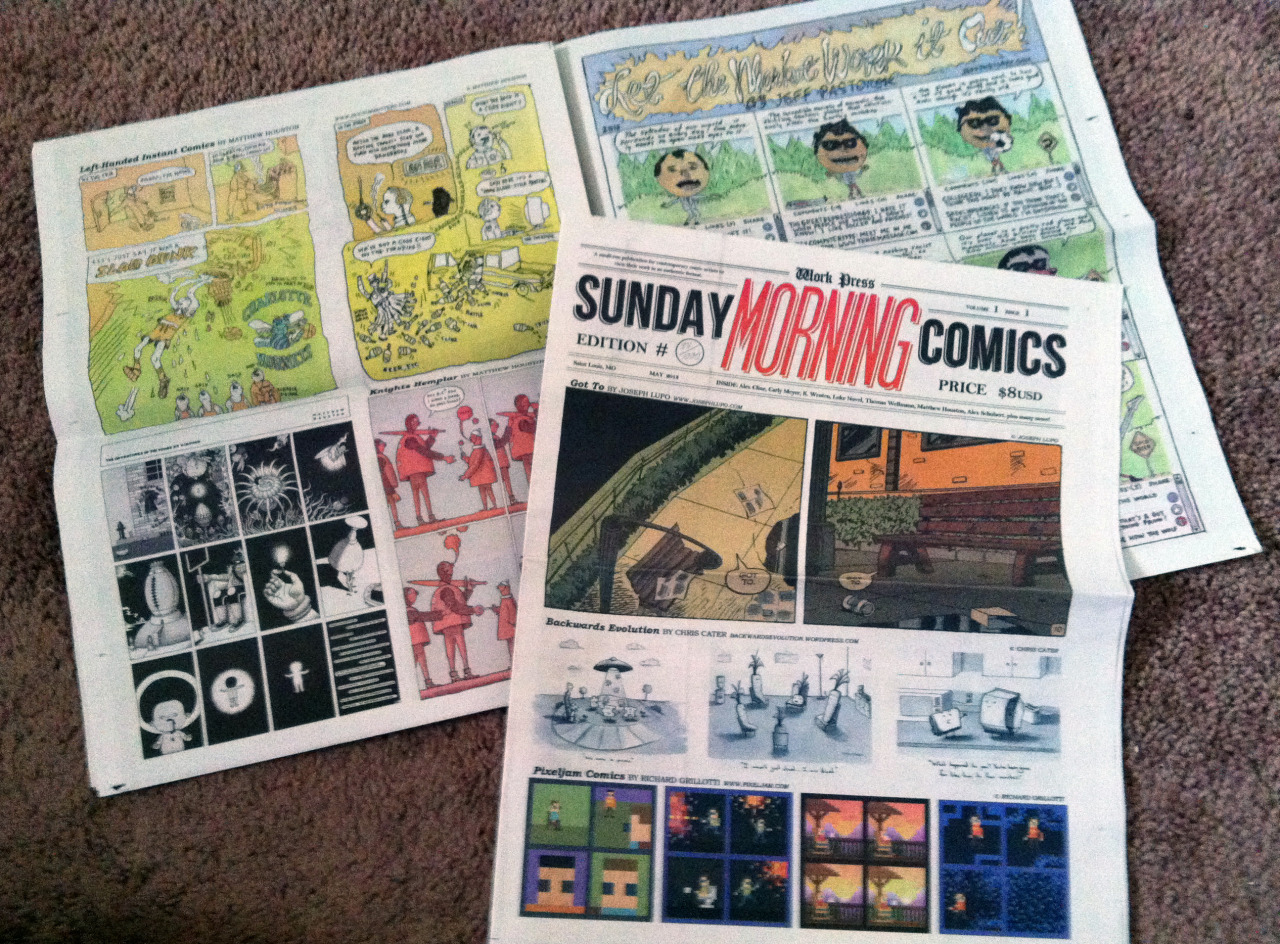 brightsplashes:  Just got my issue of Sunday Morning Comics! It's really cool and it smells incredible, get yours here.  Thanks for being part of issue 1!!
