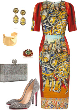 Dolce & Gabbana fever by jamilcedenoc featuring a crepe dressDolce & Gabbana crepe dress / Christian Louboutin  heels / Charlotte Olympia colorful handbag / KENNETH JAY LANE clear jewelry / KENNETH JAY LANE cuff jewelry / KENNETH JAY LANE square ring, $125
