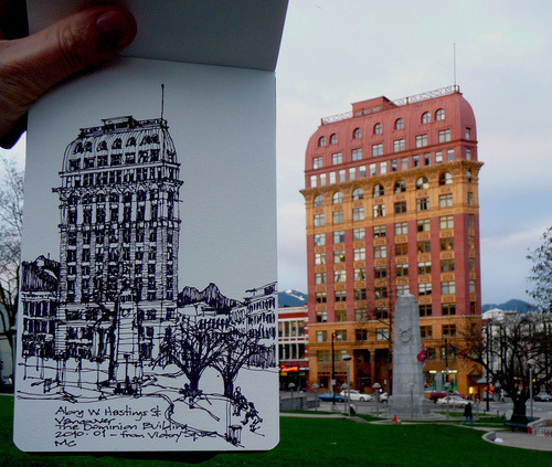 The Dominion Building, in situ; another great sketch by Matthew Cencich, via flickr.