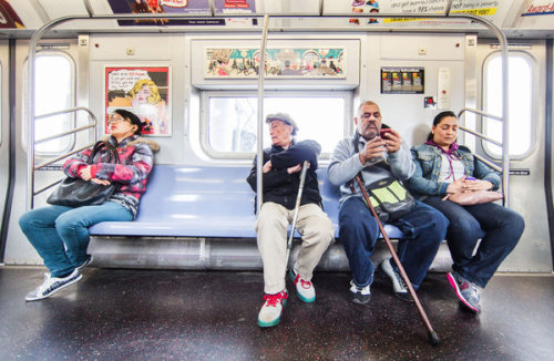 "The Science of Subway Riders:  Perhaps most telling is the authors' account of rider decisions when a fellow traveler rises from a seat. ""Customers do change seats as seats become available due to passengers disembarking,"" the report said, in language riders would be unlikely to use: ""but seat-change maneuvers incur utility costs (movement effort, and risk of desired seat becoming occupied midmaneuver)."" To mitigate this risk, the authors found, riders must often ""relinquish their current less-desirable seats in advance of busy stops"" to better position themselves near to where ""seat-turnover"" seems more likely. ""We cannot fully explain seating preference,"" the authors added; they ""only can describe it.""  Photo: Piotr Redlinski for The New York Times"