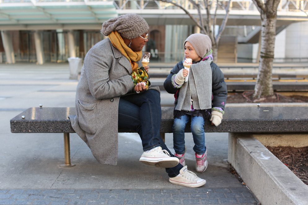 "humansofnewyork:  ""We were just at the playground and my daughter tried to get on the tire swing with another child, but the mother shooed her away. So I was just explaining to her that she shouldn't spend energy on people who don't want to accept her, because some people are just dicks. Whoops, sorry baby, Mama just cursed."""