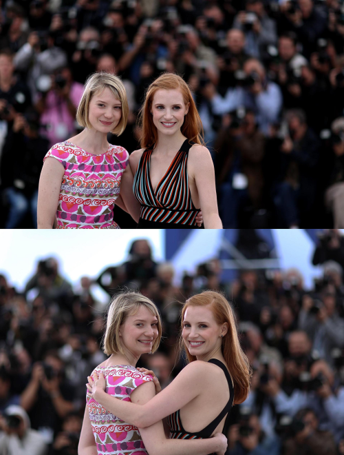 Mia Wasikowska and Jessica Chastain at the 2012 Cannes Film Festival, May 19 2012