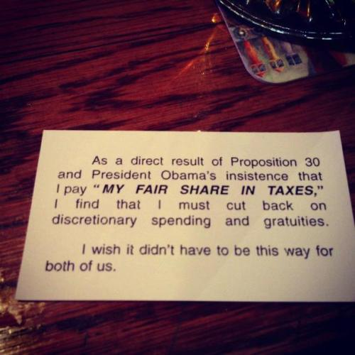 Left in lieu of a tip. Gotta love those Republicans, huh? Share on FB. Note: BuzzFeed originally stated that I left this tip, but they have since corrected it.