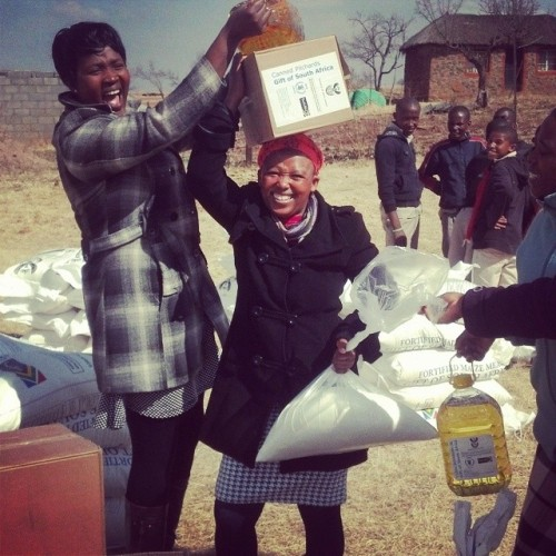 The World Food Programme dropped off 3 months of food for the school this week. Needless to say, everyone was excited #peacecorps #lesotho #WFP