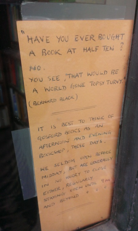 dividedconsciousness:  theshamblehouse:  coppolaseyes:  Gosford Books, Coventry  One of my favourite places in Cov, i've never had the courage to go in though.  I went in today for the first time to treat myself to some books on mythology as a well done for finishing one of my essays :)   Yes! This door notice! This one!