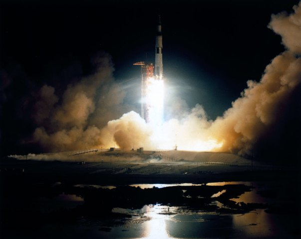 Apollo 17 was the sixth and last successful Moon landing mission and the only one to be launched at night. This Saturn V rocket carrying astronauts Gene Cernan, Ron Evans and Harrison Schmitt, lifted off from the Kennedy Space Center, Cape Canaveral, Fla. on Dec. 7th, 1972.