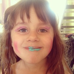 OH HECK. Aha she was playing with her make up…. This was the result