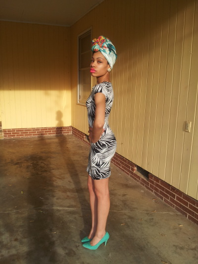 blackfashion:  Dress: F21 Scarf: H&M Shoe: Rue 21 Earrings: Thrifted  Dominique. 20. Huntsville, AL dyminaquay.tumbler.com