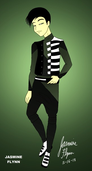 Green Vested Outfit. a digital drawing by me, Jasmine Flynn :)