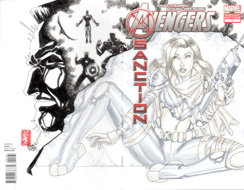 Avengers X Sanction #1 Sketch Cover by Amano Jyaku. I really enjoyed reading this story. Nothing like Cable taking out the Avengers to spark curiosity. I want to like Hope more, not just because she's a smoking hot redhead but I like the idea of her being a powerful mutant like Phoenix. Hope you like! And make mine Marvel! —>Amano P.S. Make sure to check my latest website post to get your own Amano 2013 sketchbook!