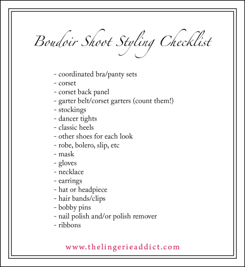 Boudoir Photography Checklist! For your next boudoir, pinup, or lingerie photoshoot.