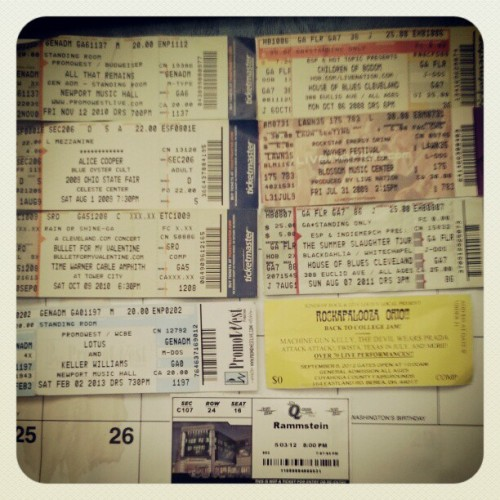 Found some ticket stubs, old and new #childrenofbodom #rammstein #blackdahliamurder #tbdm #alicecooper #blueoystercult #mgk #mayhemfestival #lotus #wooo