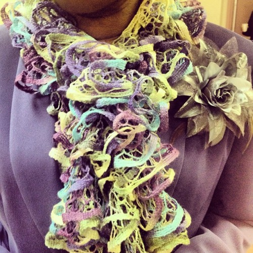 Can't tell me my momma isn't talented..knitted this scarf herself! 👌