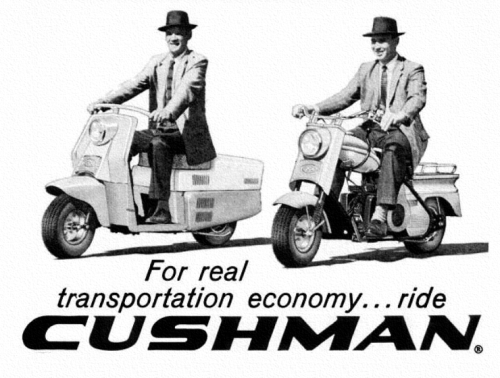 theniftyfifties:  1959 Cushman scooters advertisement.