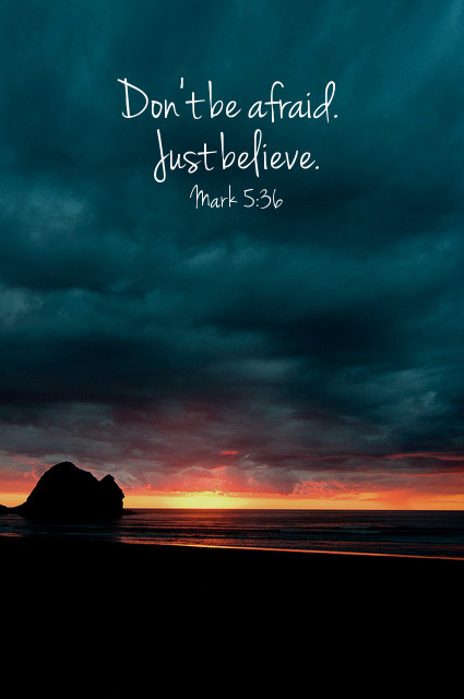 "spiritualinspiration:  When all seems lost, Jesus says, ""Just trust me."" In the darkest night, Jesus says, ""Just trust me."" While most of us know these words and find them easy to believe in church services when things are going well, they are often much tougher to believe when we find circumstances similar to what Jairus was facing. Fear paralyzes us! Fear controls our thoughts! Fear steals away our faith! So Jesus says, ""Don't be afraid. Just trust me!"" May God give us the strength to do just that when we face fearful times."