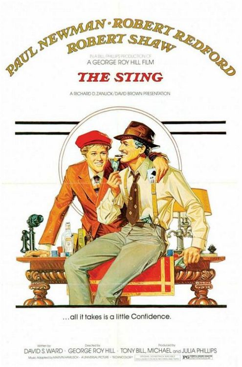 #495/#46 The Sting During the great depression, two con-artists boost a mob courier by accident an one ends up dead for his trouble. Hooker (Robert Redford), the remaining grifter, then reaches out to a mutual friend (Paul Newman) of his dead parter who specialises in elaborate big pay-off cons in order to get revenge on the mob boss (Robert Shaw) in the only way he can. This has got to be the granddaddy of all con movies. You can see so many of its influences in modern heist movies and with good reason. This film is captivating from start to finish. The set design and costumes draw you into this 1930's world but the characters, the comedy and the con all keep you invested.  Redford and Newman proved in Butch Cassidy and the Sundance Kid that they made a good team so pairing them back up in this film, along with the same director, could only mean good things. The two have such a natural chemistry together that it's just fun watching them interact in the smallest ways. As well as them though, Shaw also gives a great performance as the ruthless mob boss and the pair's mark. There's a real menace to his role and you can't wait to see how they finally take this guy for all he's worth. The con itself is largely straightforward, but there are a couple of twists in there to keep the audience on their toes as well. I imagine it is because it is so influential now, and has affected so many films, but the final twist was actually kind of obvious. It still works but having been exposed to so many of this type of film it's not that hard to see coming. The movie still managed to go a couple places I wasn't expecting though, so there is a little mystery still left in the tale even now.  If you're a fan of the con movie, the Ocean's 11 remake especially, then I would say check this out if you get the chance. Top notch older film. 4.5/5