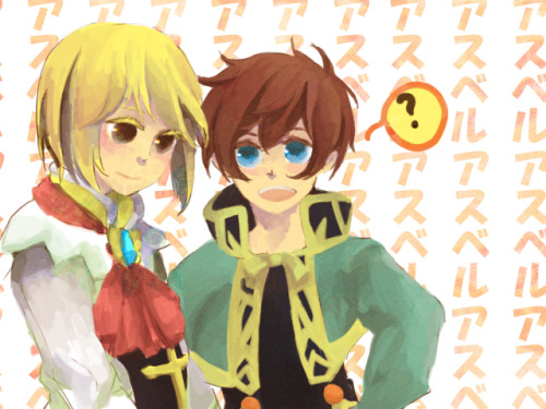 "lenienna:  Background reads ""Asbel Asbel Asbel"" over and over. Probably the contents of Richard's mind~"