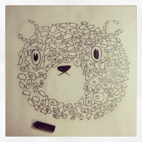 Drawing a bear made of little bears .