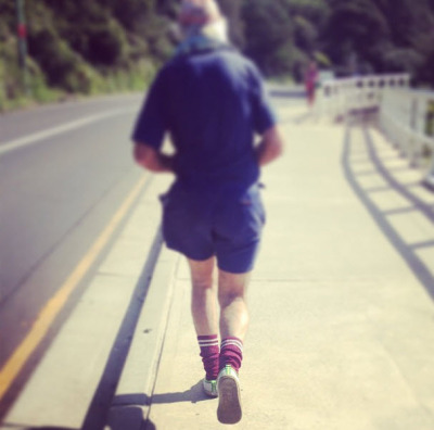 81 years young. Runs Bondi to Bronte in his Volleys, every day.