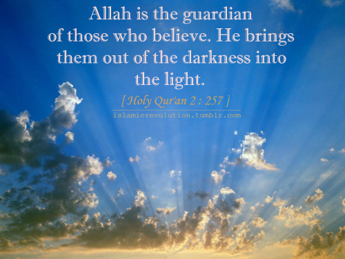 islamic-quotes:  Allah is the guardian of those who believe. He brings them out of the darkness into the light. [ Holy Qur'an 2:257 ] Submitted by islamicrevolution
