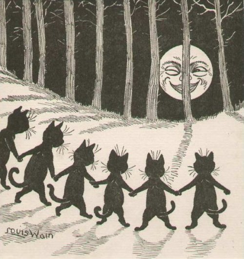 black cat moon, louis wain c. 1916