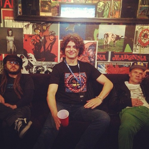 Keith Morris and Dimitri Coats from OFF! with Flea backstage at the Fonda Theatre in Hollywood on April 9th, 2013.