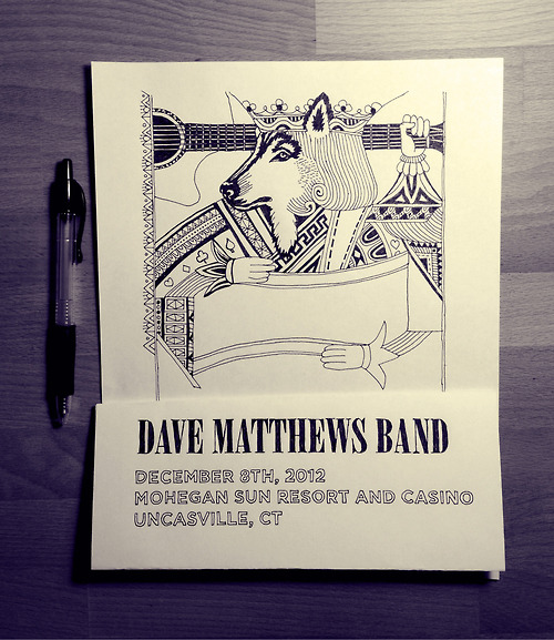 Original pen and ink illustration used in my recent Dave Matthews Band poster