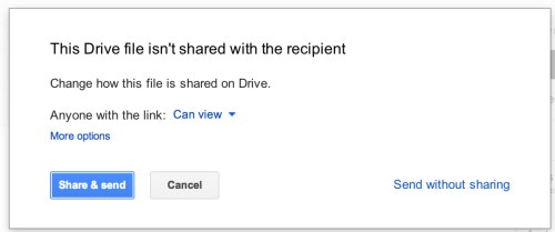 Gmail - When you send an email that contains a Google Drive link, it warns you if the file isn't shared with the recipients. /via @carmandrew