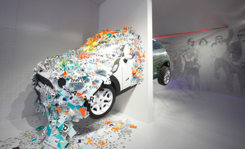 Milan's new 'motor show' at the Salone del Mobile The Mini Kapooow! installation