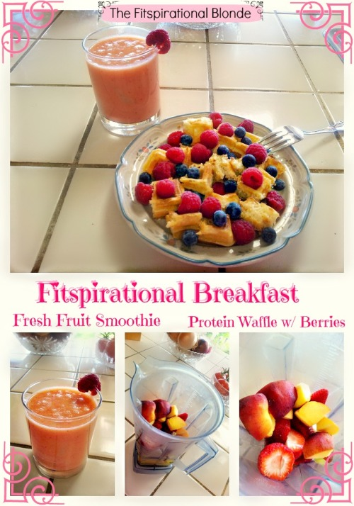 I had SUCH a beautiful Breakfast today!  This is my 3 MINUTE SMOOTHIE! (instructions on how to make a 3 minute smoothie below) This whole breakfast was put together in 3 minutes, yes I timed it… so don't try and tell me you don't have time to eat breakfast in the mornings.  Excuses lead to failure. If you want to start getting healthy, and you have a REALLY busy schedule like I do, YOU need to put in the extra work that it takes to PLAN YOUR MEALS OUT THE NIGHT BEFORE. Failure to plan, leads to no breakfast or lunch. How to plan out a 3 minute smoothie the night before: Decide 2-3 fruits you want to have in your smoothie the next morning. Pre-cut the fruit Put the pieces together in a tupperware box Put the box in the freezer The next morning: Take the box out of the freezer Put the frozen pieces into the blender Add juice, milk or water (what ever your preference is, I use both juice and PureWater) Add a scoop of protein powder THAT'S IT! BAM you have a 3 minute smoothie! No excuses, plan for your success. P.S Didn't this come out really pretty?!?!? Xox Brittany,              THE-FITSPIRATIONAL-BLONDE