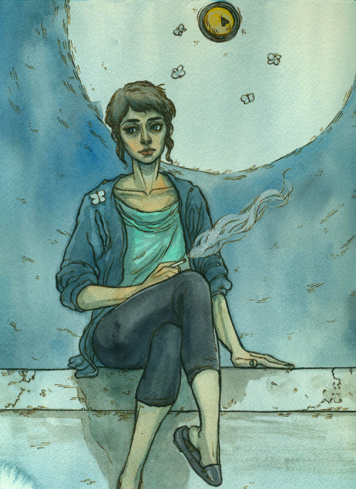 other-side-of-the-universe:  This Evening — watercolor & ink — April 11, 2013 — available for sale on etsy