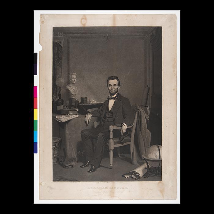 Civil War Abraham Lincoln B//W Photo Portrait Cherry Framed Art Print