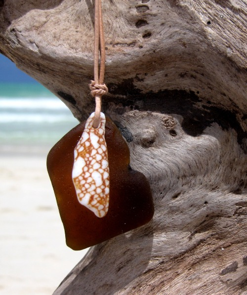 Hawaiian Amber Brown Beach Glass & Textile Cone Snail Shell Piece on Genuine India Leather Cord Necklace Handmade with Aloha! …surfer chic…
