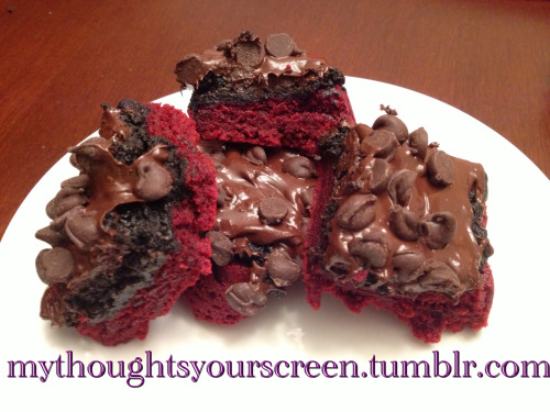Red Velvet Oreo Truffle Brownie Bars Soooooooo I got this awesome recipe off Pinterest (blog - pizzazzerie.com) It's definitely the ultimate sugar rush. I followed this recipe. Def was not about to make red velvet brownies from scratch…. Being lazy. I make dope red velvet brownies though. Anywho…. These things are SOOOOOOOOOOOO GOOD!!!!!! Like heaven in your mouth.   Ingredients: