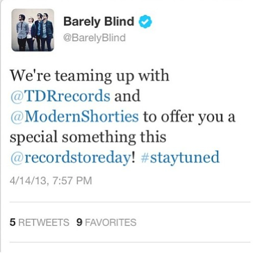 #recordstoreday #modernshortstories #tdrrecords #barelyblind