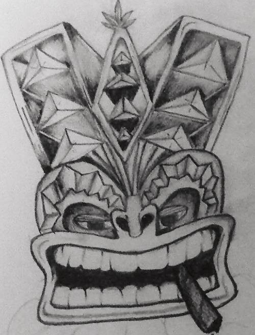 This is a Tiki smoking a blunt, this is also the first tattoo I ever designed