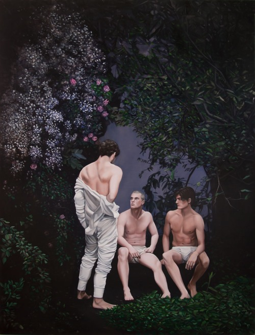 "José Pedro Godoy | Tres hombres 2012 | óleo sobre tela | 150 x 200 cm  ""White Box is proud to present the work of emerging Chilean artist, José Pedro Godoy, in his premier New York exhibition, The Beloved. Godoy's most recent series represents a new breed of Pan- American Realist and Allegorical painters drawing their inspiration from a High Baroque sensibility infused with a homoerotic, hardcore sensuality. Depicted are scenes pointing to youthful profanity expressed in a visual language that spells a sense of perversion albeit delivered with ornate detail and passion. Godoy's various figurative styles reference Western painterly traditions, in particular Peter Paul Rubens' High Baroque seminal painting Bacchanal, which instead of women Godoy has changed for an all-male cast. Godoy's drawings that depict young Athenian adonis' in scenarios 'al fresco' are a straightforward rendition of homoerotic games, gestures and behavior."""
