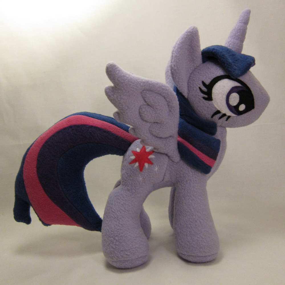"Princess Twilight Sparkle plush! She is 15"" tall, made with no-pill fleece, polyester fiberfill stuffing, and felt applique eyes/cutie mark.  She is FOR SALE until Apr 12, 2013 21:45:26 PDT."